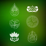 Set of logos nature protection. Collection icons on nature background stock illustration