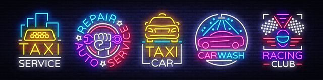 Set logos in neon style Transportation. Design Template, Neon Signs Collection, Auto Service, Garage, Racing Club, Car. Wash, Taxi Service, Repair Car. Night royalty free illustration