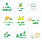 Set of logos for organic and natural food Stock Photography