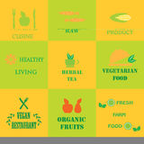 Set of logos for organic and natural food Royalty Free Stock Images