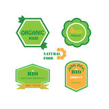 Set of logos for organic and natural food Royalty Free Stock Photo