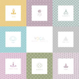 Set of logos and patterns for a yoga studio Royalty Free Stock Images