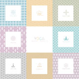 Set of logos and patterns for a yoga studio Stock Photography