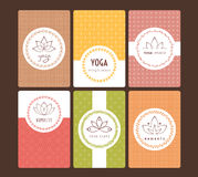 Set of logos and patterns for a yoga studio Stock Photo