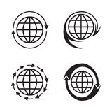 Set of logos of planets with arrows. Stock Photos