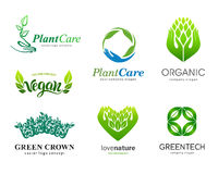 Set of logos. Plant care, eco, organic. Healthy eating and a healthy lifestyle stock illustration