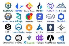 Set of logos popular cryptocurrencies vector illustration