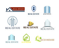 Set of logos real estate, eco house. Logos in vector on white Royalty Free Stock Photo