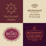 Set of  logos for restaurants, bars, cafes, bistros. Prestige and elegance, the premium segment Stock Photos