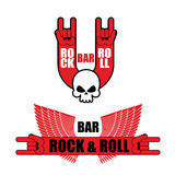 Set of logos for rock and roll bar. Hand rock sign and wings. Te Stock Photos