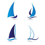 Set logos sailboat or navigation. Vector icon for companies Royalty Free Stock Images