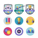 Shooting Skeet. Vector set of logos. Set of design elements. Rou. Set of logos Skeet shooting. Athlete shooter with a gun. Gold Cup of the winner. Headphones and Stock Image