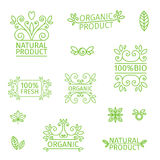 Set of logos, stamps, badges, labels for natural products, farms, organic. Floral elements and swirl. Green, pastel. Set of logos, stamps badges labels for Royalty Free Stock Image