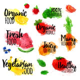 Set of logos, stamps, badges, labels for natural products, healthy food, organic. Fruit, berry and vegetable elements Stock Photos