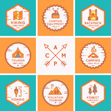 Set of logos and symbols for camping. Royalty Free Stock Images