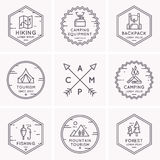 Set of logos and symbols for camping. Royalty Free Stock Photo