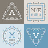 Set of logos templates in mono line style. Royalty Free Stock Images