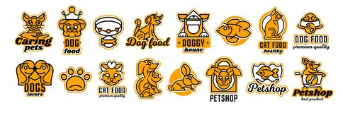 Set of logos on the theme of animals. Shop for pets, food. Cat, dog, rabbit, fish in the aquarium, collar, bone, bowl. Kennel, bag, supermarket trolley, crown stock illustration