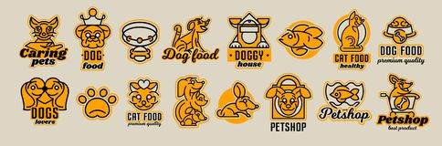 Set of logos on the theme of animals. Shop for pets, food. Cat, dog, rabbit, fish in the aquarium, collar, bone, bowl. Kennel, bag, supermarket trolley, crown vector illustration