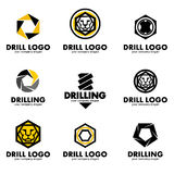 Set of logos for the tool, drill bit, drilling.Vector illustration Royalty Free Stock Image