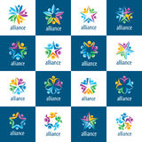 Set of logos union people. Set of abstract vector logos union of people in the form of stars Stock Photography