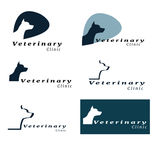 Set of logos for vet clinic with dog Royalty Free Stock Photo