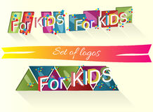 Set of logos with the words for children Stock Photo