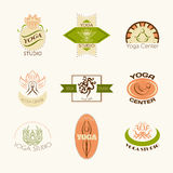 Set of logos for yoga studio or meditation class. Modern fitness badges collection made in vector. Stock Photo