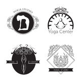 Set of logos for yoga studio or meditation class. Modern fitness badges collection made in vector. Royalty Free Stock Images