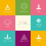 Set of logos for a yoga studio Royalty Free Stock Photos