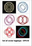Set of logotype in metallic wire design, easy  colors Stock Photos