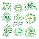 Set of logotypes elements hand-drawn bio, organic, natural food for your design. Illustration Royalty Free Stock Photos