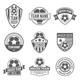 Set of  logotypes elements, labels, badges and silhouettes for soccer or football. Collection of  logotypes elements, icons, symbols, labels, badges and Stock Image