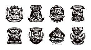 Set logowie, emblematy, palacz w masce gazowej Fotografia Stock
