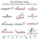 Set logowie, etykietki i emblematy fryzjera męskiego sklepu klubu, Zdjęcie Stock