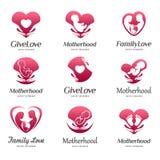 Set logowie macierzyństwo, dziecko opieka, rodzinna miłość, brzemienność, childbearing Obrazy Royalty Free