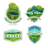 Set logowie, znaki, odznaki z naturą, krajobraz Zdjęcia Royalty Free