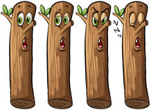 Set of logs. With faces on a white background vector illustration