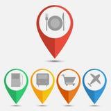 Set lokaci mapy ikona Płaski projekt Zdjęcie Stock