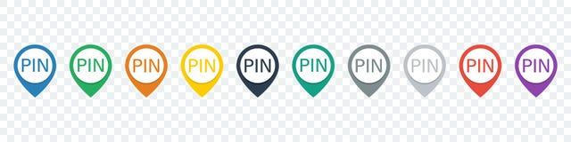 Set lokaci szpilka Mapa pointery Wałkowe ikony Pointer ikony Obrazy Royalty Free