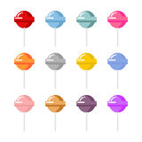 Set lollipop candies with different flavors. Multi-colored candy Stock Image