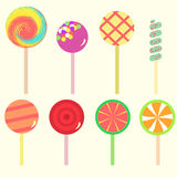 Set of lollipop candy Stock Photos