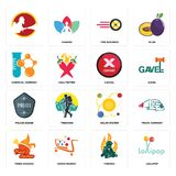 Set of lollipop, firemen, fried chicken, solar system, police badge, cancel, chemical company, tire business, icons. Set Of 16 simple editable icons such as Stock Photos