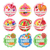 Set of lollipop logos, stickers Royalty Free Stock Photography