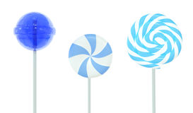 Set of lollipops. Blue set of three different lollipops isolated on white. 3d image Stock Images