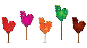 Set of lollipops cockerel Royalty Free Stock Photo