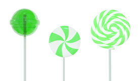 Set of lollipops. Green set of three different lollipops isolated on white. 3d image Stock Photos