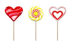 A set of lollipops. Objects on white background. 3d illustration. A set of lollipops. Lollipop in the shape of heart. Lollipop with sugar candy. Round lollipop Royalty Free Stock Photo
