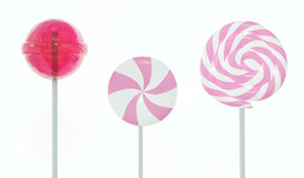 Set of lollipops. Pink set of three different lollipops isolated on white. 3d image Royalty Free Stock Images