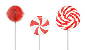 Set of lollipops. Red set of three different lollipops isolated on white. 3d image Royalty Free Stock Photos